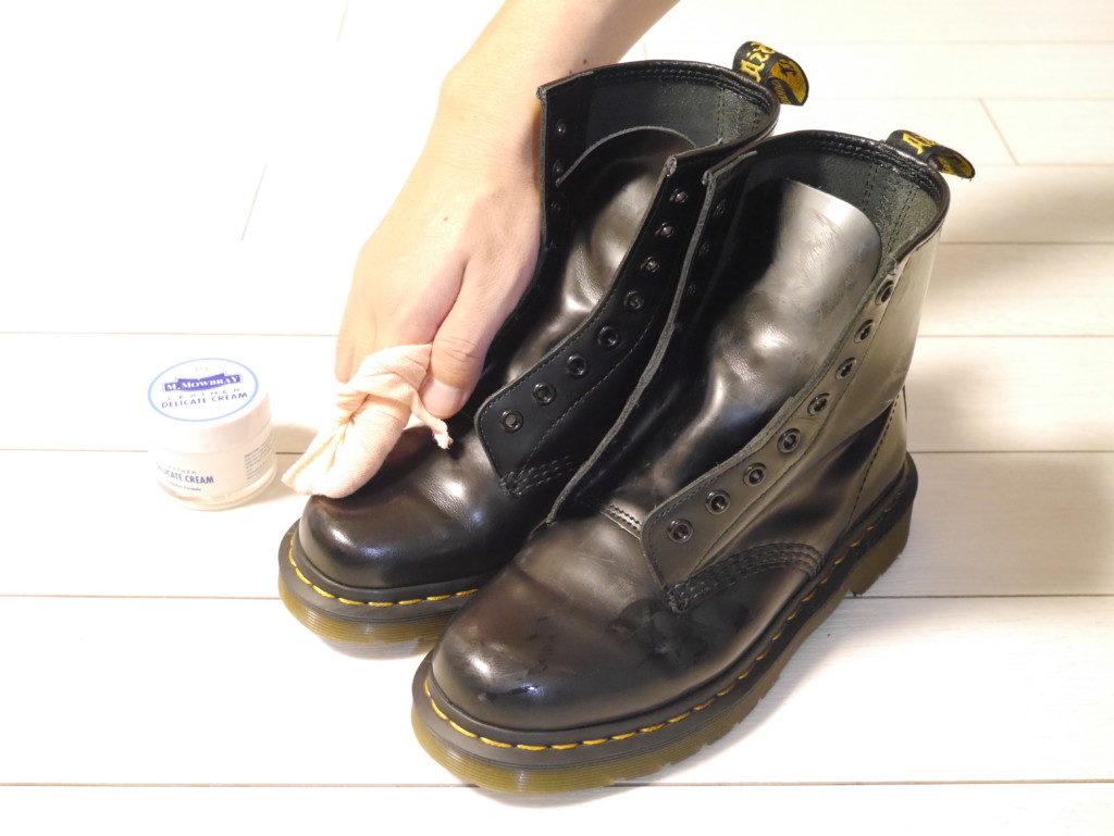 ドクターマーチン 靴擦れ 仕上げ乾拭き