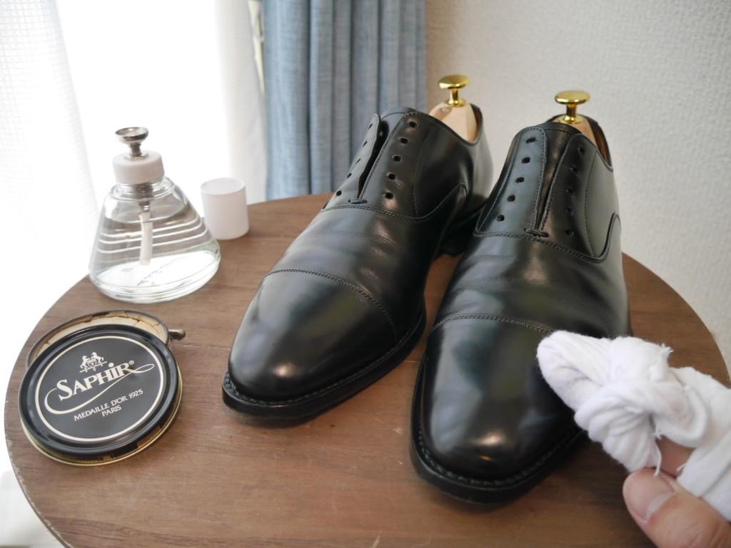 革靴の傷 ワックス1層目