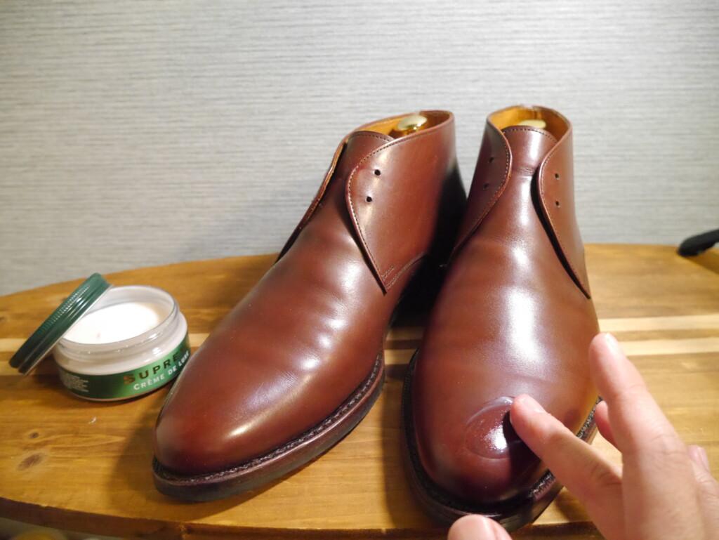 靴磨きおすすめクリーム クリーム塗布