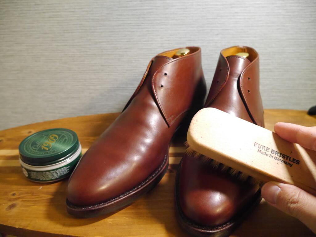 靴磨きおすすめクリーム 豚毛ブラシ